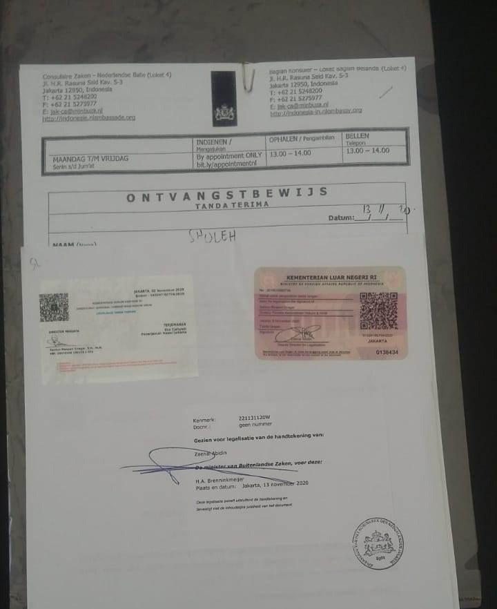 Contoh jasa legalisasi kedutaan Belanda