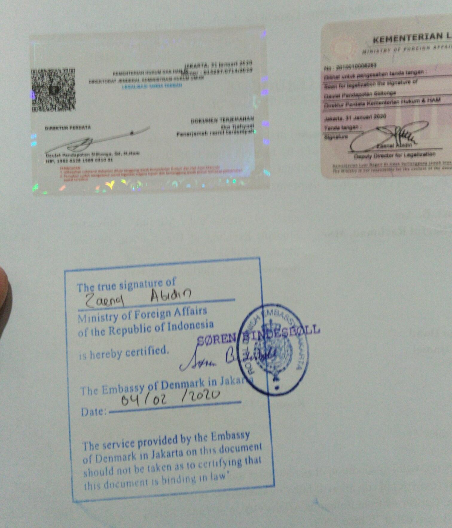 Contoh jasa legalisasi kedutaan Denmark