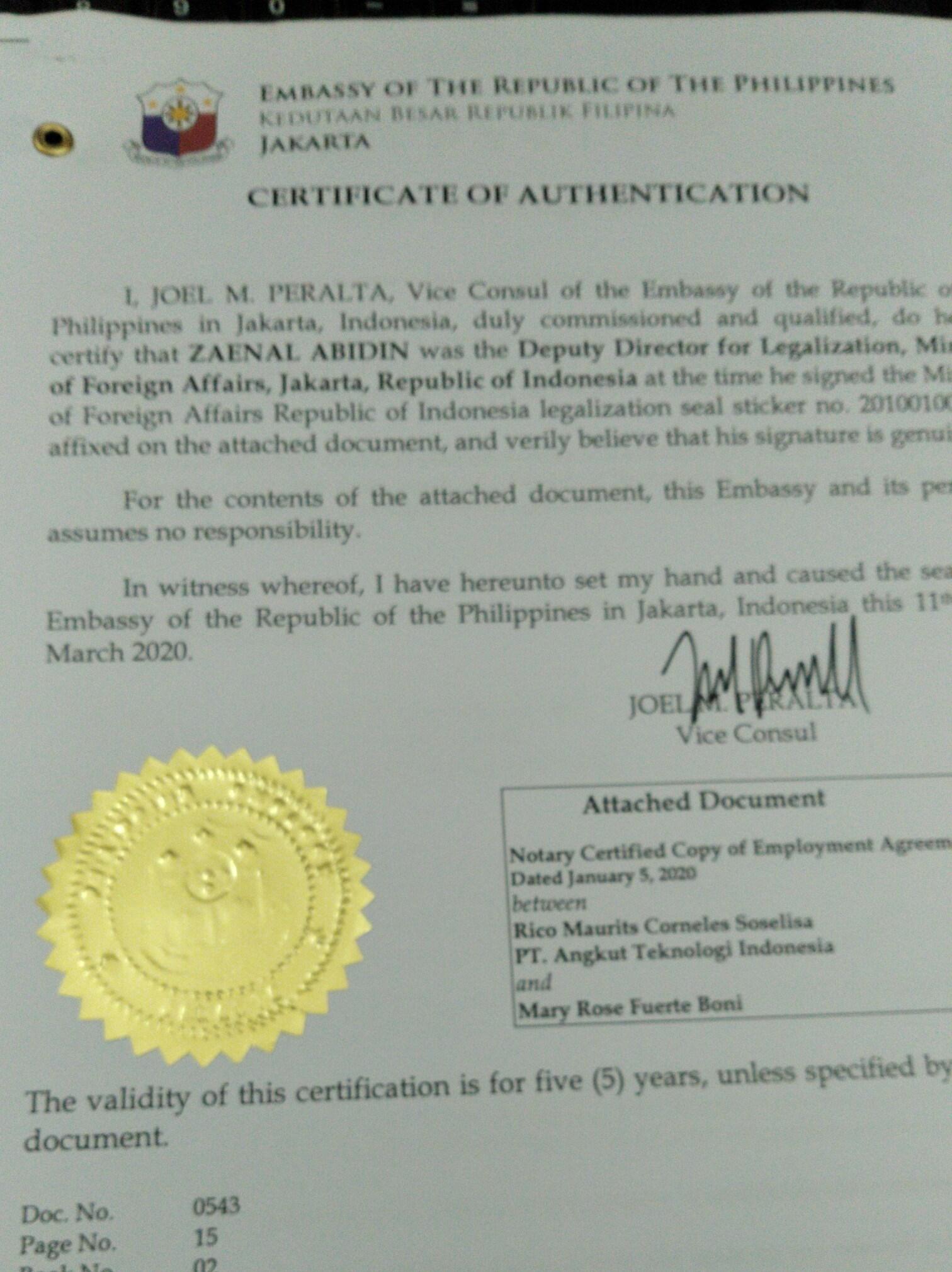 Contoh jasa legalisasi kedutaan filipina
