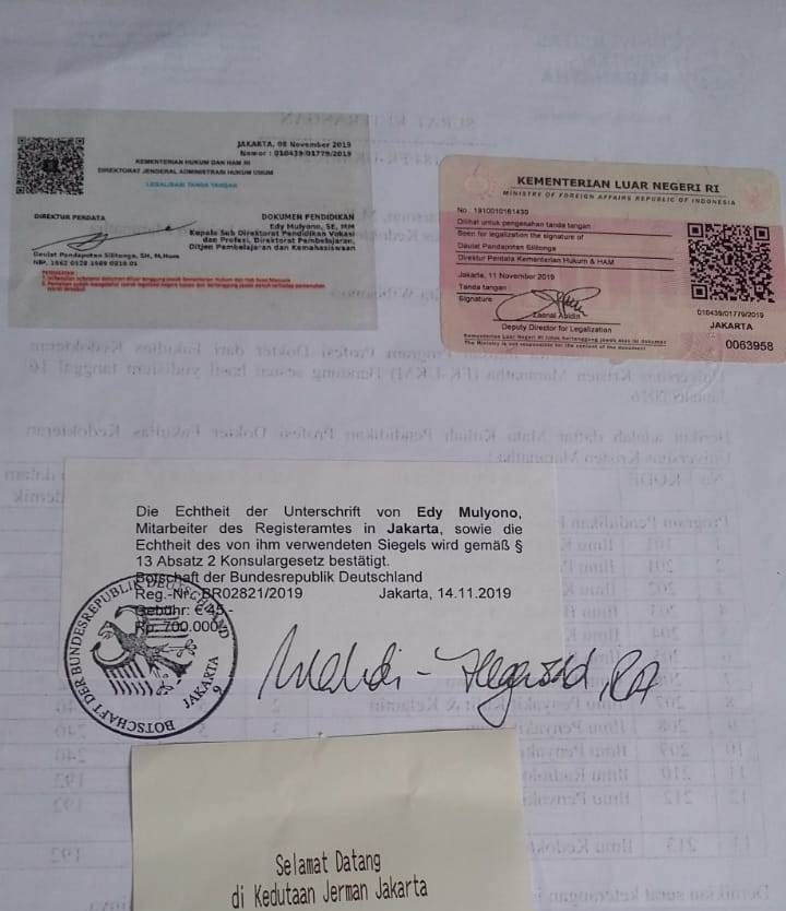 Contoh jasa legalisasi kedutaan Jerman