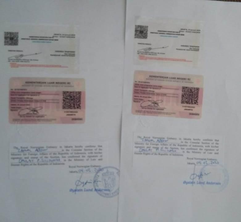 Contoh jasa legalisasi kedutaan Norwegia