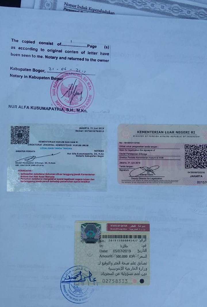 Contoh jasa legalisasi kedutaan Qatar