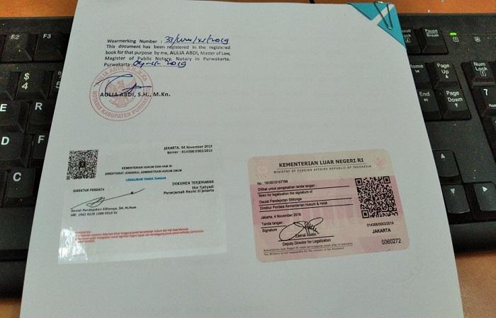 Contoh legalisir notaris